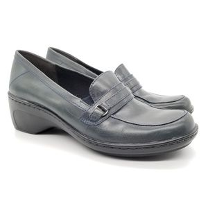 Clarks Leather Comfort Penny Loafer Blue Gray Sz 9